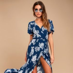 Lulu's Dresses - Navy Blue Floral Print Wrap Maxi Dress  *BRAND NEW